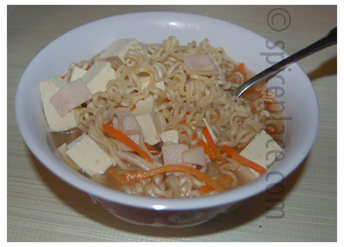 Serving of Homemade Chicken Broth with Ramen