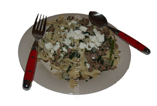 Prepared Greek Ground Lamb, Spinach and Egg Noodles