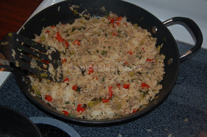 Prepared Cajun Dirty Rice in pan