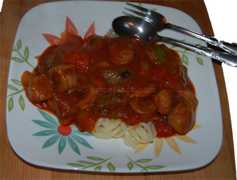 Spatini and Italian Sausage with Pasta
