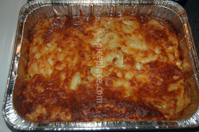 Prepared Upside down Pasta and Cheese In Pan