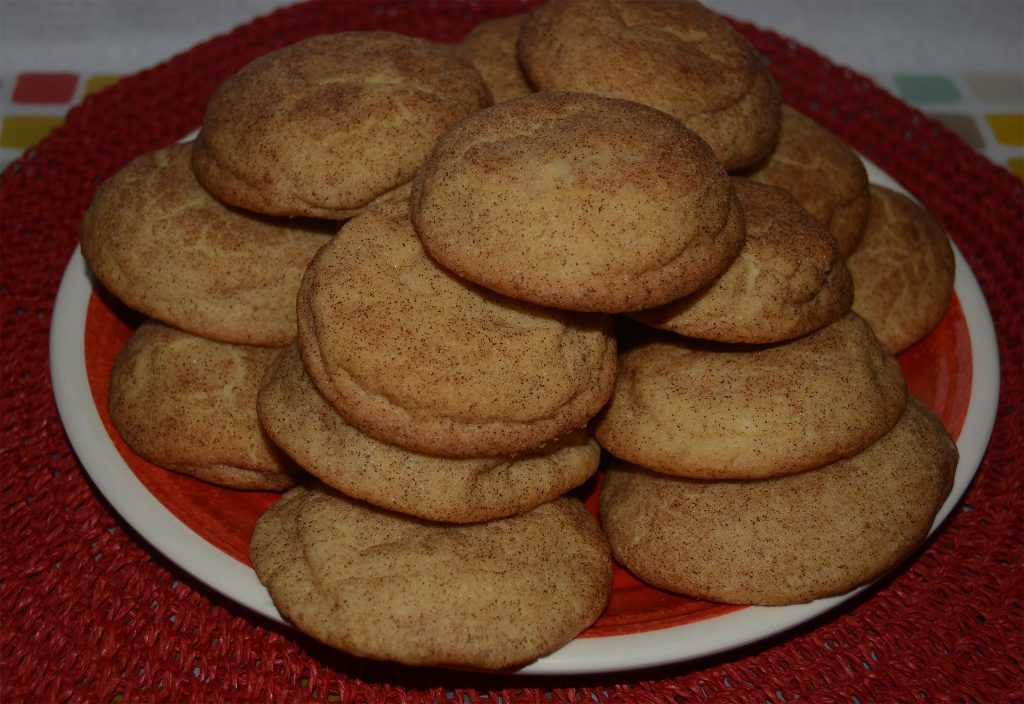 Fresh made Snickerdoodle Cookies on Serving Dish