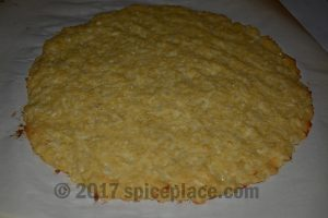 Baked cauliflower pizza crust cooling