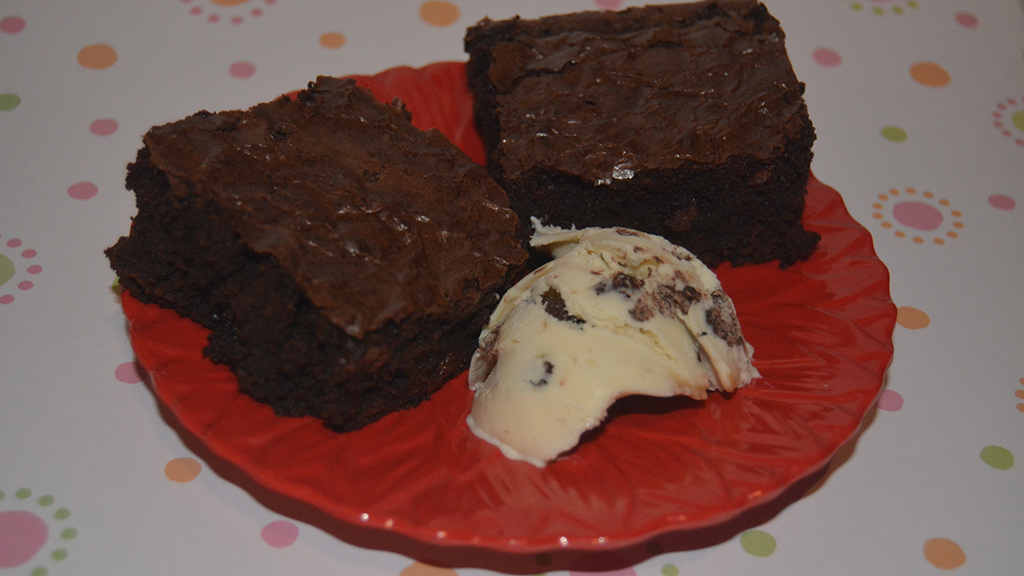 Serving of Ghirardelli Brownies and Ice Cream