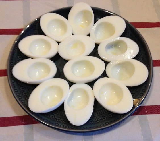 Hard Cooked Egg Whites Ready for Dyeing