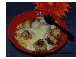 Chicken Meatballs with Kluski Noodles