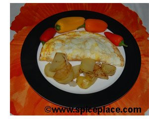 Picture of serving of a Ham & Cheese Omelet with Tabasco