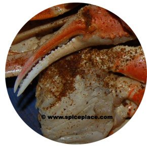 Close up picture of Old Bay Seasoning on Snow Crab Legs