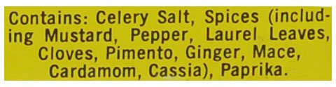 Picture of ingredient list in Old Bay Seasoning
