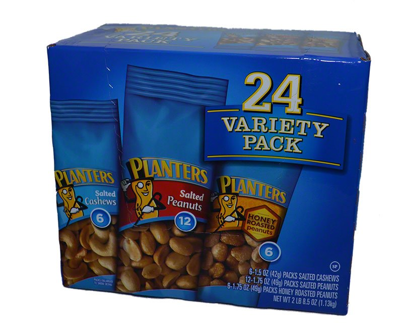 Planters Tube Nuts Variety Pack, 24 count $17.58USD - e Place on planters peanuts variety, planters peanuts individually wrapped, planters nutrition pack, blue diamond nuts pack, planters honey roasted peanuts, peanut planter pack, planters heat peanuts,